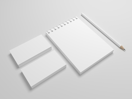 Photo-realistic 3d rendering spiral notepad or notebook with pencil and business cards. Blank mock-up template. Standard-Bild