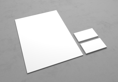 textured paper: Blank A4 letterhead paper with business cards for logo presentation. 3D mock up illustration on gray textured background. Stock Photo