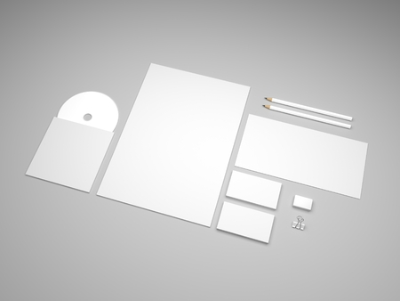 blank business card: Stationery mockup with envelope, business cards and letterhead. White  presentation mock-up. 3d illustration.