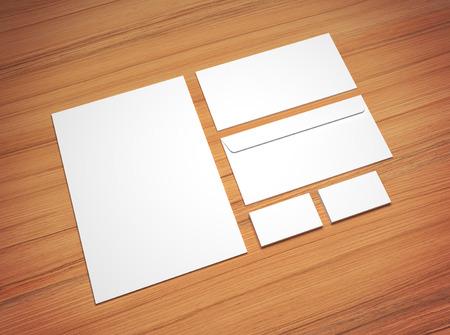 sobres de carta: Efectos de escritorio maqueta 3d ilustración en el fondo de madera viñeta. Carta en blanco A4 blanco, tarjetas de visita y sobres. Foto de archivo
