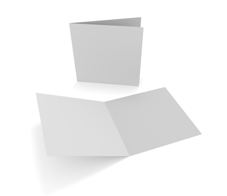 Blank opening square two-leaf greeting card or brochure isolated on white. 3d illustration mockup.