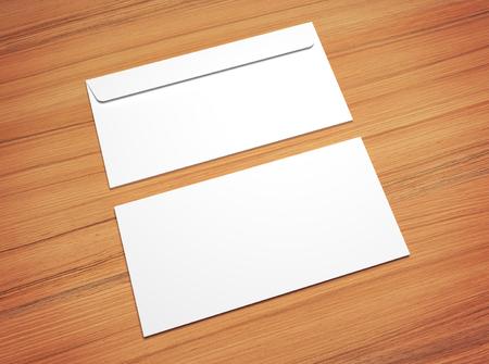 vintage document: White 3d illustration postal envelopes for design presentation. Mock-up on wooden texture.