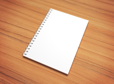 photorealistic: White blank spiral notepad on wooden desk texture with vignette. Photorealistic 3d illustration mockup.