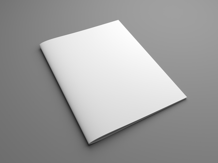 Blank US letter, brochure or magazine isolated on gray with shadows. 3d illustration mockup. 免版税图像 - 67423918