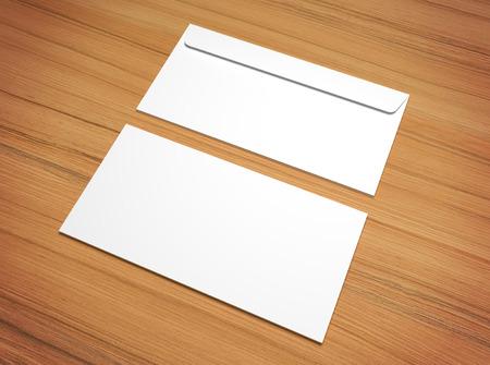 vintage document: White 3d rendering postal envelopes for design presentation. Mock-up on wooden texture. Stock Photo