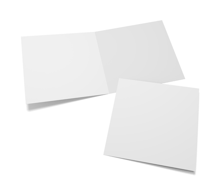 Blank square two greeting cards or brochure isolated on white. 3d rendering mockup. Cover presentation and open inside. 免版税图像