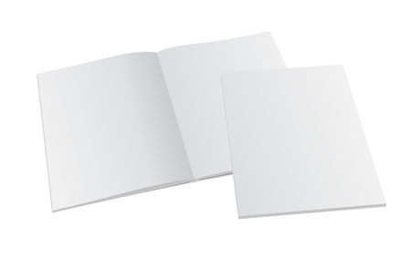 Blank opened magazine mock-up with cover. Vector template illustration.