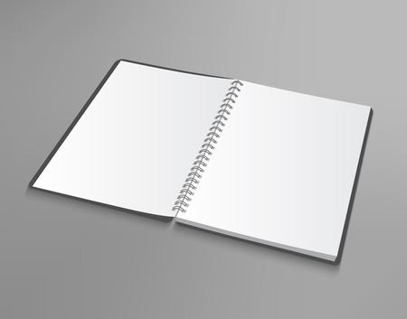 Vector opened blank spiral notebook on gray background. Realistic editable EPS 10 illustration. Ready for a message. Illustration
