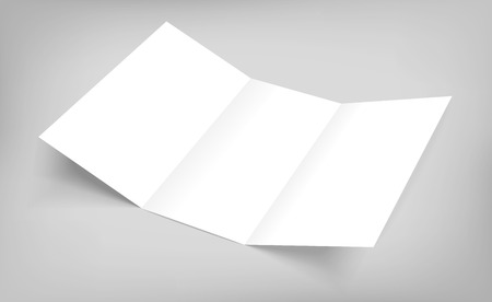 Blank tri fold paper flyer on gray background. Vector illustration with soft shadows.