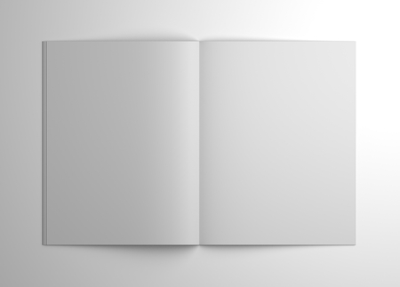 Blank open brochure or magazine isolated on gray with shadows. 3d illustration mockup. Stock Photo