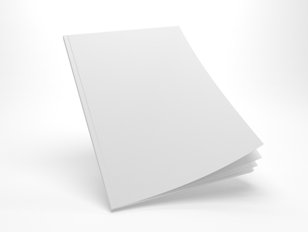 Blank flying opening cover mock up of a magazine. 3d illustration template with empty cover. Gray mockup isolated on white. Foto de archivo