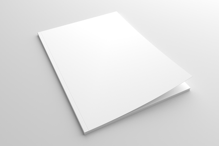 document: Empty cover magazine mock-up. 3d illustration white brochure with blank cover. Stock Photo