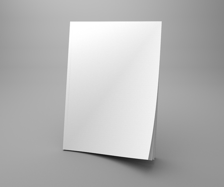 Blank standing cover magazine mock-up. 3d illustration white book with blank cover and dark shadow.