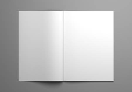 Blank open magazine mock-up with two pages showing. 3D illustration without perspective.