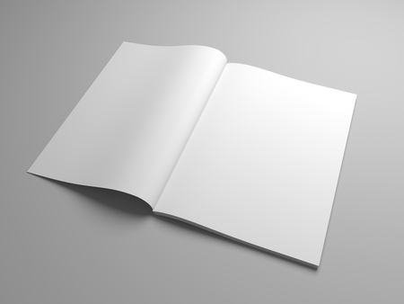 Blank opened magazine, book, booklet o brochure. 3D Illustration realistic mock up.