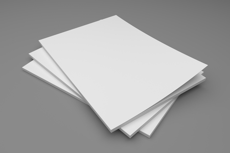 magazine stack: Blank empty stack of magazines or books on a gray background with shadows. 3D illustration mockup. Stock Photo