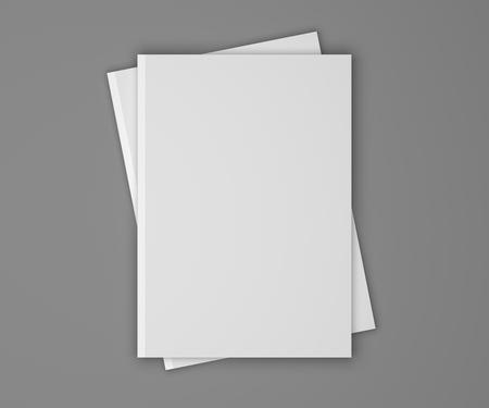 pila en blanco de dos revistas o libros sobre un fondo gris con sombras. ilustración maqueta 3D.