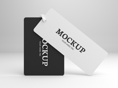 hang up: Hang tag mockup for branding label or cloth. Standing black and white tags with node. 3D illustration mock-up.