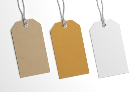 paper tags: Collection of various price or brand label hang tags. 3D illustration blank mockup with paper texture.