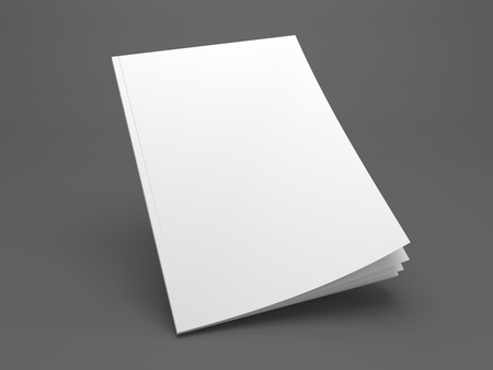 Blank flying opening mock up of a cover magazine. 3D illustration template on dark gray.