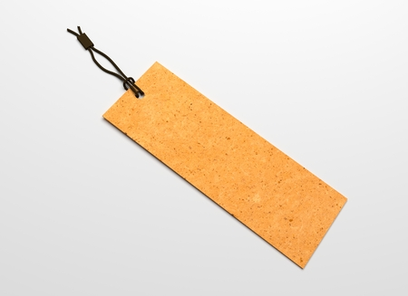 hang tag: Yellow hang tag with recycled paper texture. 3D illustration blank mockup.