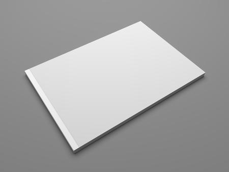Blank landscape format brochure US-Letter. Magazine isolated on dark gray showing cover. 3D illustration render.