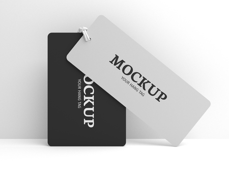 Standing hang tag mockup for brand label or cloth. Black and white tags with node. 3D illustration mock-up.