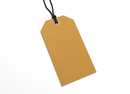 hang tag: Blank hang tag with recycled paper texture for priceing. 3D illustration blank mockup. Stock Photo