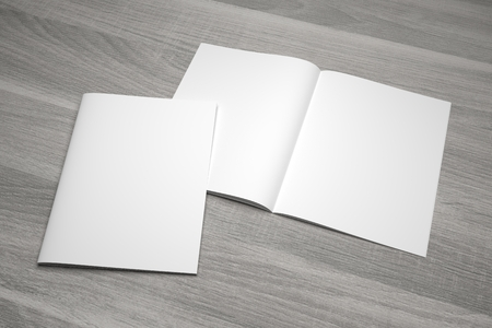 Blank open composition letter format magazine mockup with cover showcase on wood texture. 3D illustration mockup.