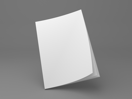 Blank flying magazine mock up with opening pages. 3D illustration cover mock-up template on gray. Banque d'images