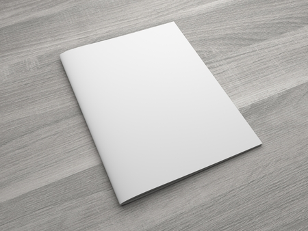 Blank US letter, brochure or magazine isolated on gray on wooden textured background. 3D illustration mockup. Standard-Bild