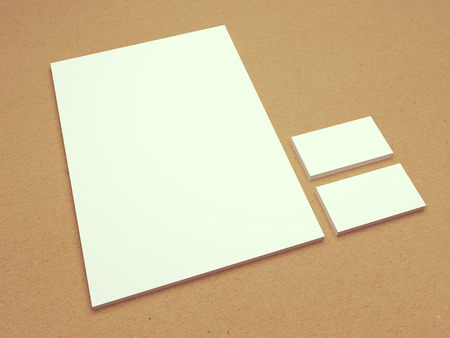 recycled: Vintage blank A4 letterhead paper with business cards for branding presentation. 3D mock up illustration on recycled paper textured background.