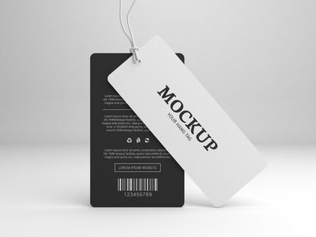 ブランド ラベル タグのモックアップをハングします。白と黒のタグを立っています。3 D イラストレーションのモックアップ。