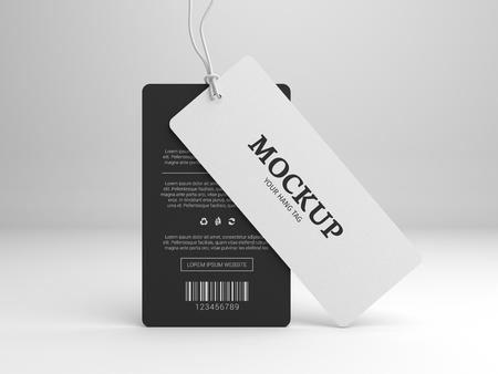 Hang tag mockup for branding label. Standing black and white tags. 3D illustration mock-up. Foto de archivo