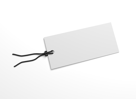 Blank white hang tag with for priceing. 3D illustration blank mockup.