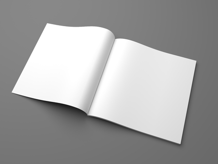 Opened square format magazine mock-up on gray. 3D illustration template.
