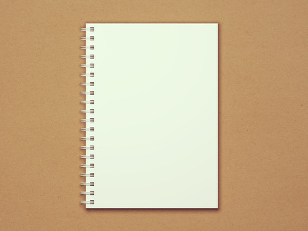 Vintage blank spiral notepad on textured recycled paper. Photorealistic vintage 3D illustration mockup with retro filter.