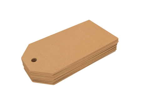 paper tags: Stack of price 3D illustration tags from recycled paper.
