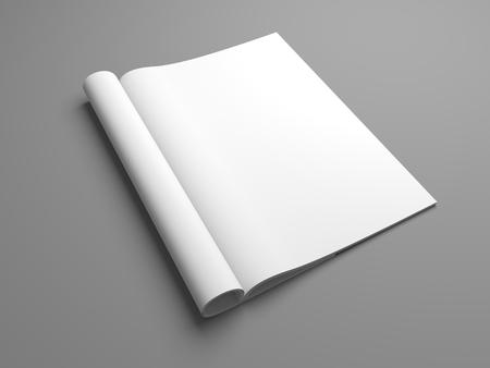 Open 3D illustration magazine mock up. Standard-Bild
