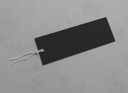 hang tag: Blank black 3D illustration hang tag. Stock Photo