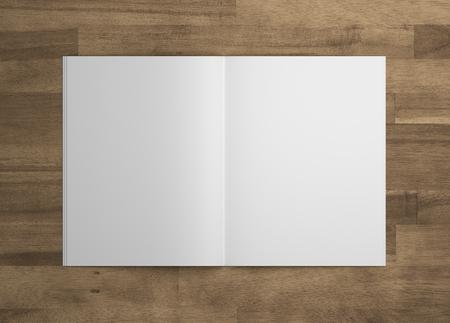 Blank 3D illustration opened magazine mock-up on wood. Standard-Bild
