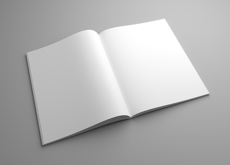 Perspective blank opened magazine or brochure mock-up. 3D illustration template.