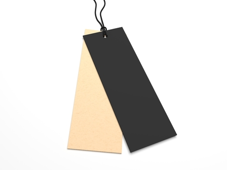 Two 3D illustration hang tags for priceing and branding.