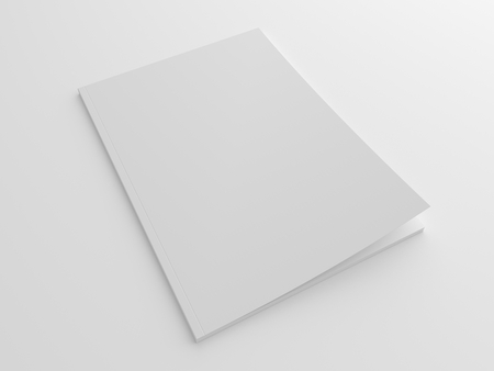 Blank soft style magazine or brochure 3D illustration mock up.