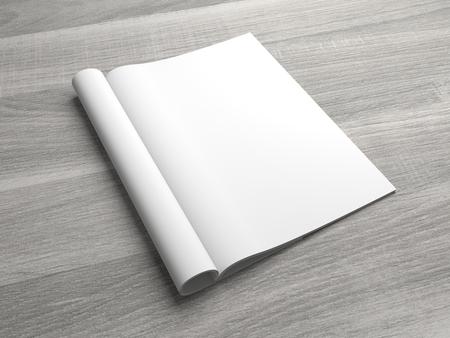 Open 3D illustration magazine mockup showing right page. Standard-Bild