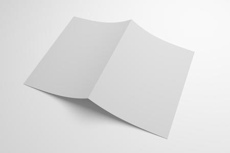 Blank opened bi-fold 3D illustration paper showing cover.