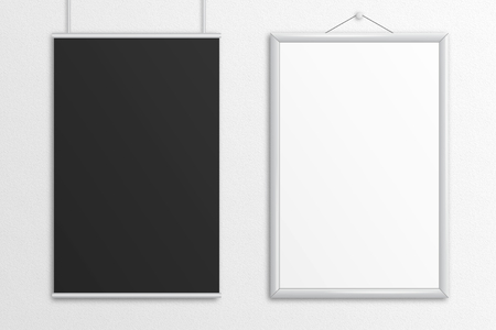 Two tabloid posters 3D illustration mock up with frame.