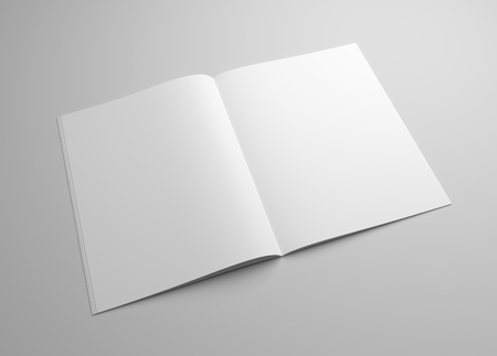 Blank brochure magazine 3D illustration on grey for your design.