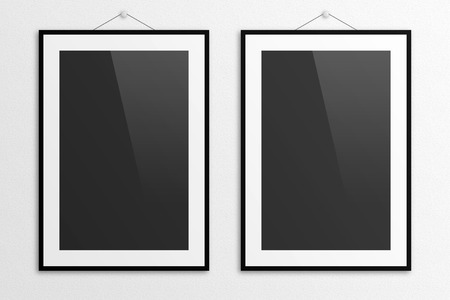 Poster mockup 3D illustration with frame and gloss.