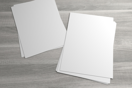 Couple of stacks of flyers or leaflets 3D illustrationon mock-up Standard-Bild